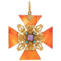 Georgian 18 Karat Gold, Carnelian Amethyst and Persian Turquoise Maltese Cross