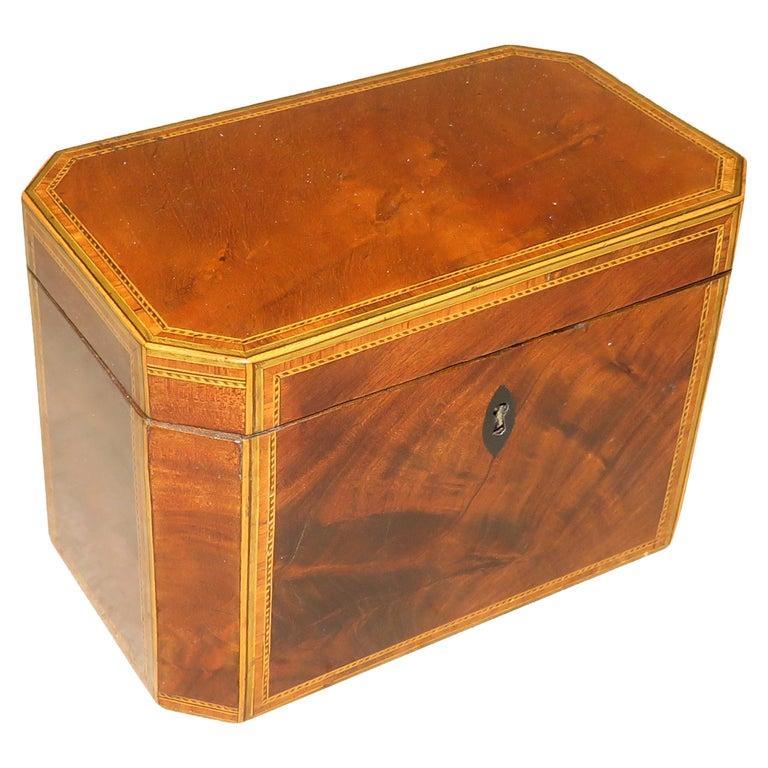Georgian 18th Century Antique Mahogany Octagonal Tea Caddy