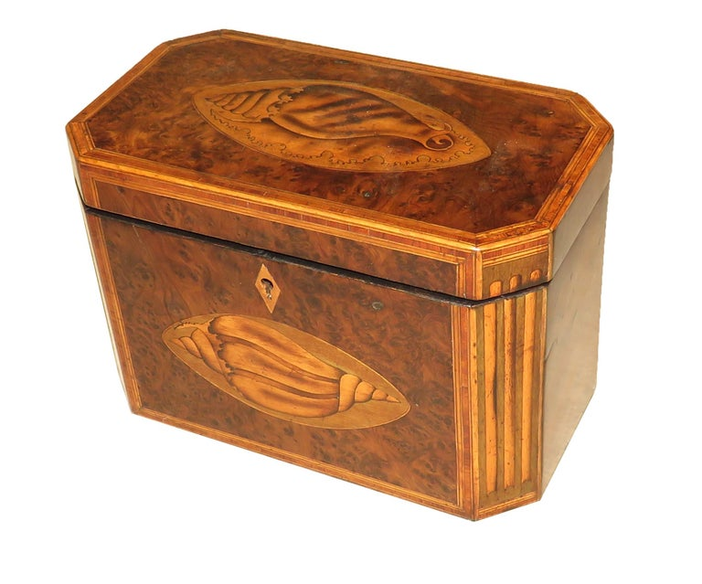 Georgian 18th Century Burr Yew Wood Octagonal Tea Caddy For Sale 4