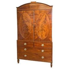 Georgian 18th Century Mahogany Linen Press