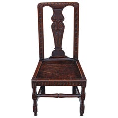 Georgian 18th Century Oak Hall Side Occasional Decorative Chair