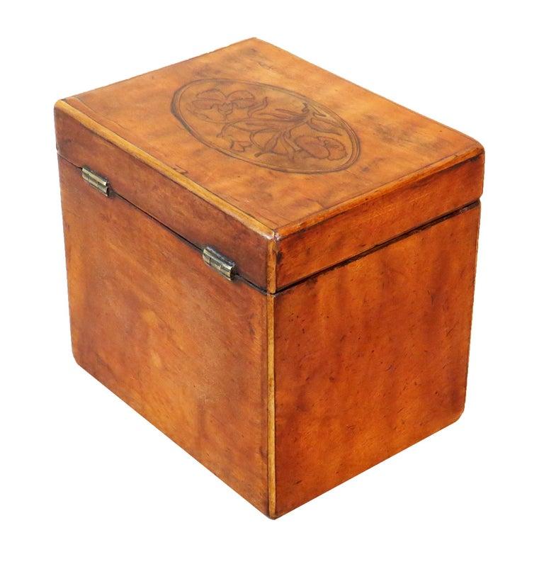 English Georgian 18th Century Satinwood Antique Tea Caddy For Sale