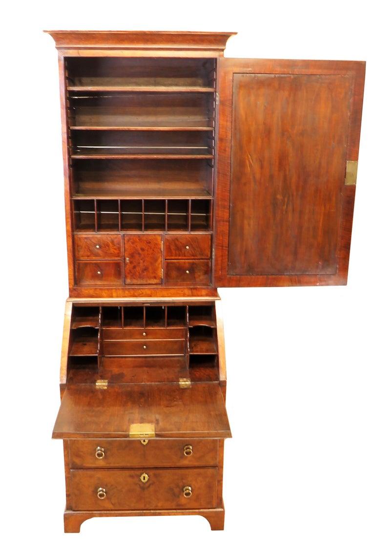 George I Georgian 18th Century Walnut Antique Bureau Bookcase