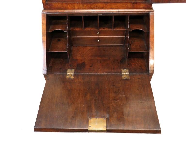 European Georgian 18th Century Walnut Antique Bureau Bookcase