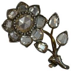 Georgian 2 Carat Diamond Spread 15 Carat Gold Flower Forget Me Not Brooch