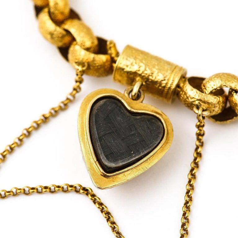 Georgian 20 Karat Gold Bracelet with Turquoise Heart Locket, circa 1820 For Sale 6