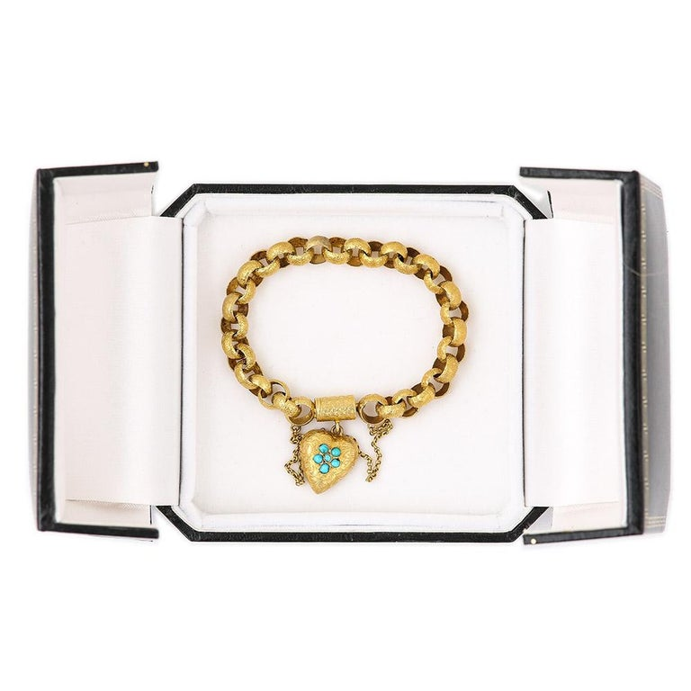 Georgian 20 Karat Gold Bracelet with Turquoise Heart Locket, circa 1820 For Sale 7