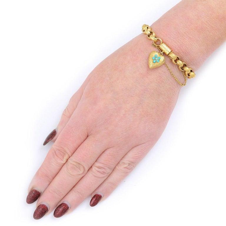 Georgian 20 Karat Gold Bracelet with Turquoise Heart Locket, circa 1820 For Sale 8