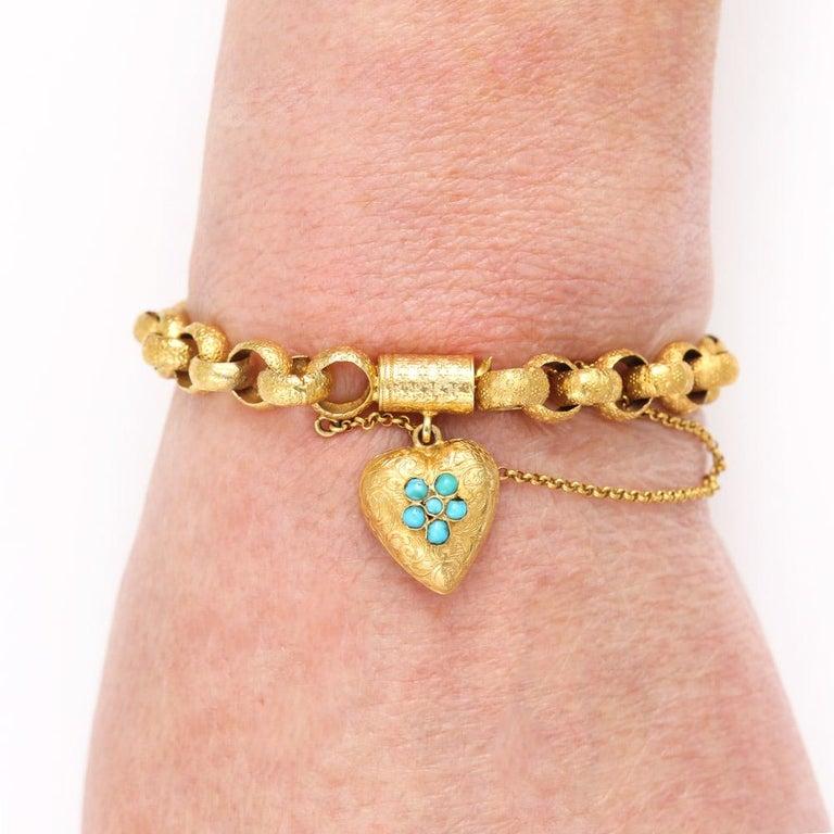 Georgian 20 Karat Gold Bracelet with Turquoise Heart Locket, circa 1820 For Sale 9