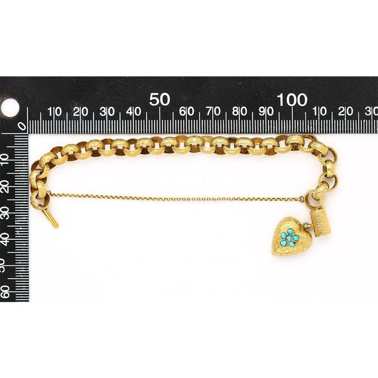 Georgian 20 Karat Gold Bracelet with Turquoise Heart Locket, circa 1820 For Sale 11