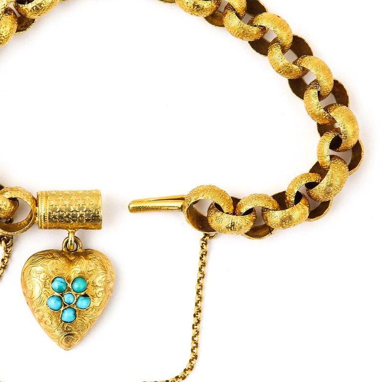 George IV Georgian 20 Karat Gold Bracelet with Turquoise Heart Locket, circa 1820 For Sale