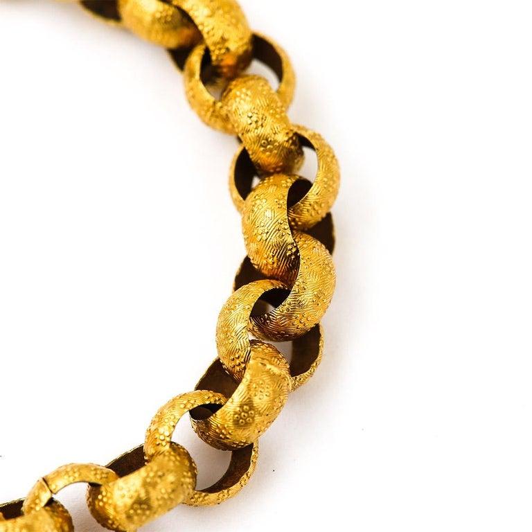 Women's Georgian 20 Karat Gold Bracelet with Turquoise Heart Locket, circa 1820 For Sale