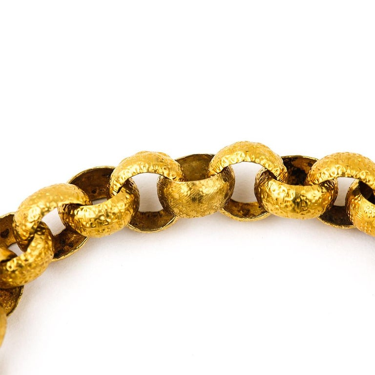 Georgian 20 Karat Gold Bracelet with Turquoise Heart Locket, circa 1820 For Sale 1