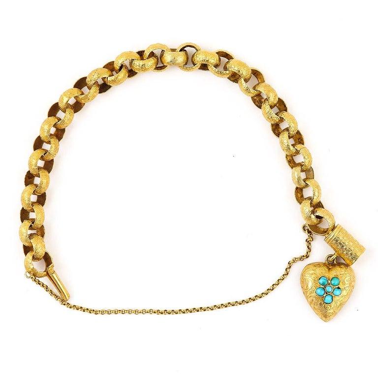 Georgian 20 Karat Gold Bracelet with Turquoise Heart Locket, circa 1820 For Sale 3