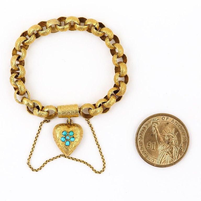 Georgian 20 Karat Gold Bracelet with Turquoise Heart Locket, circa 1820 For Sale 4