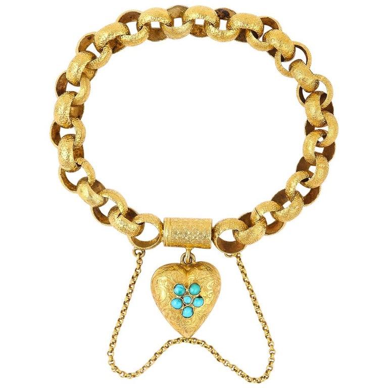 Georgian 20 Karat Gold Bracelet with Turquoise Heart Locket, circa 1820 For Sale