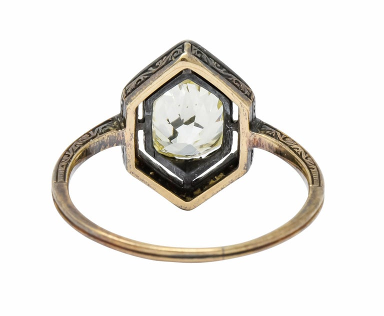 Georgian 2.00 Carat Diamond Silver-Topped 14 Karat Gold Engagement Ring, 1800 In Excellent Condition For Sale In Philadelphia, PA