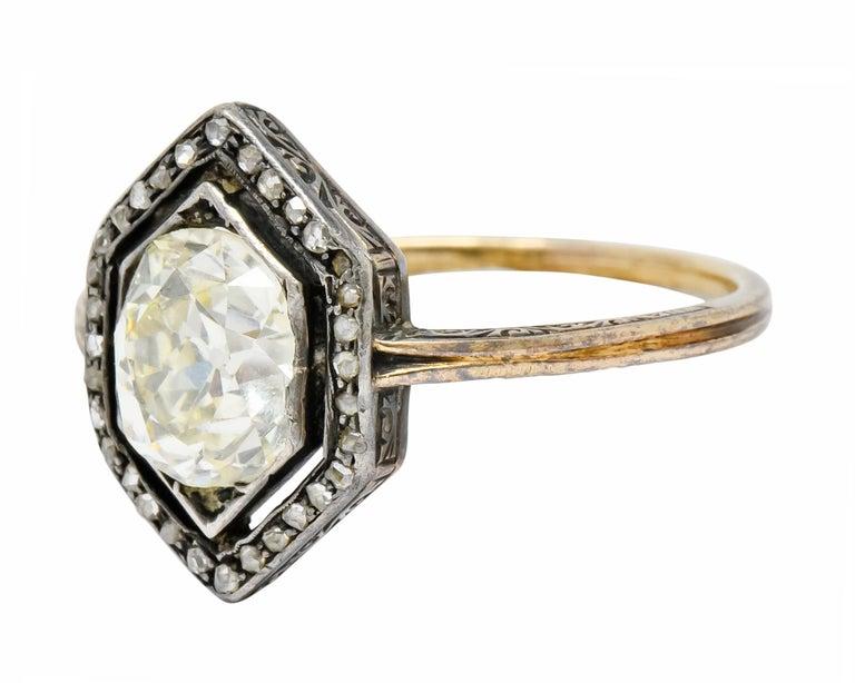 Georgian 2.00 Carat Diamond Silver-Topped 14 Karat Gold Engagement Ring, 1800 For Sale 1