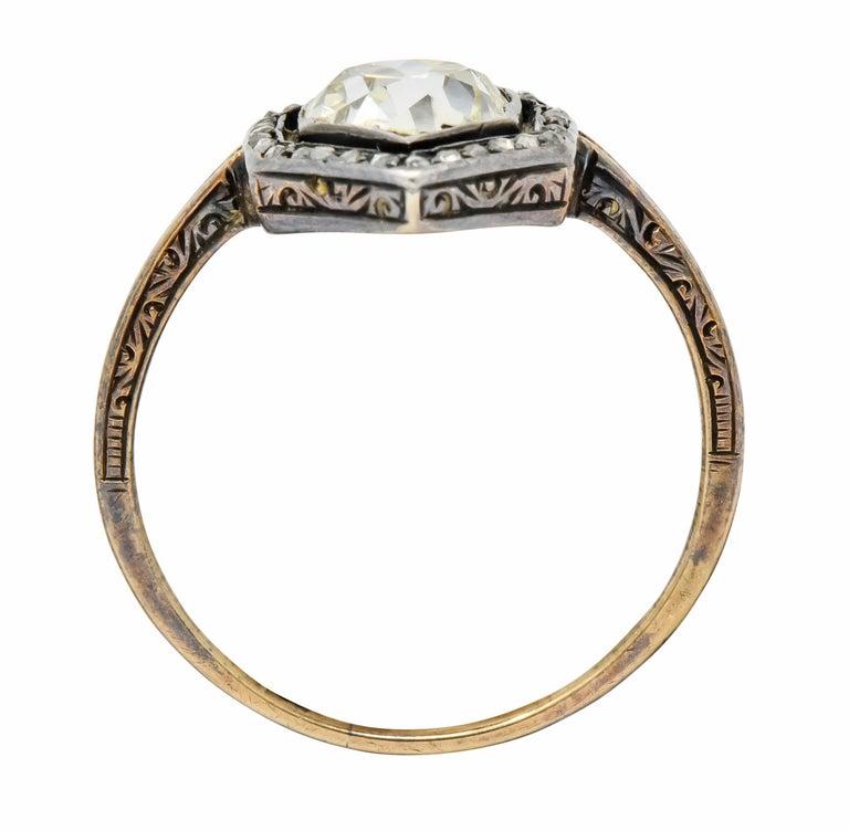 Georgian 2.00 Carat Diamond Silver-Topped 14 Karat Gold Engagement Ring, 1800 For Sale 2