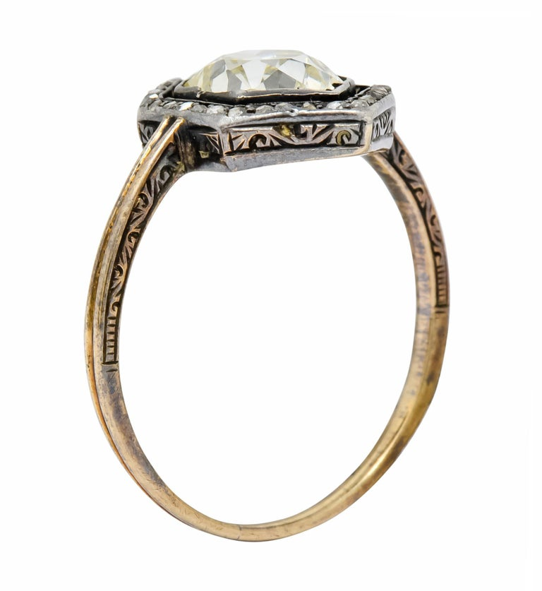 Georgian 2.00 Carat Diamond Silver-Topped 14 Karat Gold Engagement Ring, 1800 For Sale 3