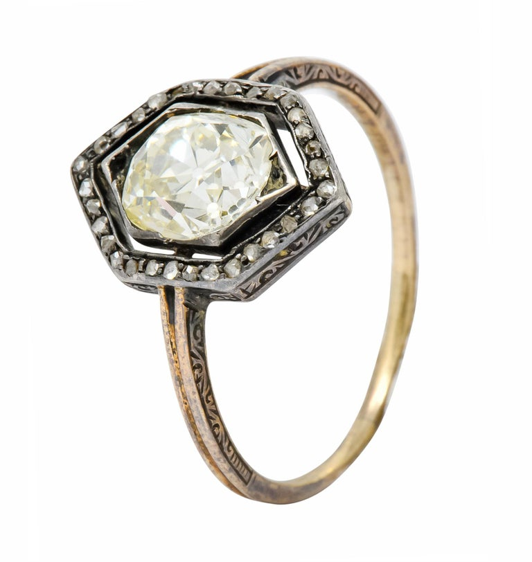 Georgian 2.00 Carat Diamond Silver-Topped 14 Karat Gold Engagement Ring, 1800 For Sale 4