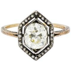 Georgian 2.00 Carat Diamond Silver-Topped 14 Karat Gold Engagement Ring, 1800