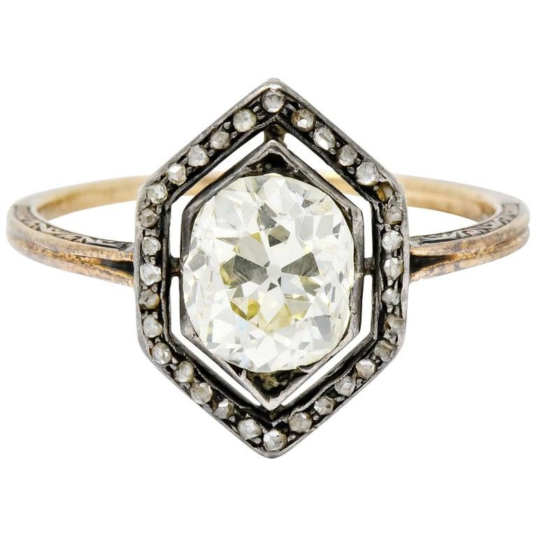Georgian 2.00 Carat Diamond Silver-Topped 14 Karat Gold Engagement Ring, 1800 For Sale