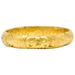 Georgian 22 Karat Gold Memento Mori Skull Unisex Band Ring