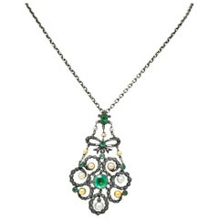 Georgian 3.50 Carat Foil Backed Emerald Pearl Diamond Silver Pendant Necklace