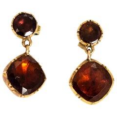 Georgian 9 Carat Gold Garnet Drop Earrings