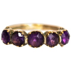 Georgian 9 Karat Gold Amethyst Five-Stone Ring