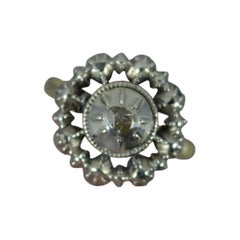 Georgian 9ct Gold and Rose Cut Diamond Cluster Panel Ring, c1760