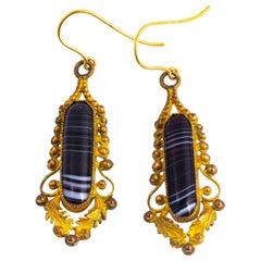 Georgian Agate and Gilt Drop Earrings