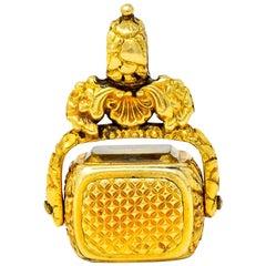 Georgian Amethyst Carnelian Citrine 18 Karat Gold Rotating Fob Pendant