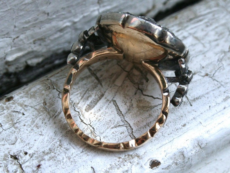 Men's Georgian Antique 14 Karat Gold/ Silver Diamond Rose Cut Ring Engagement Ring For Sale