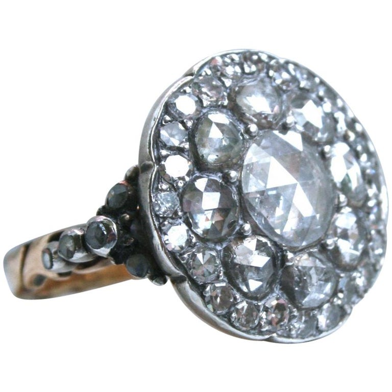 Georgian Antique 14 Karat Gold/ Silver Diamond Rose Cut Ring Engagement Ring For Sale