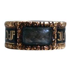 Georgian Antique 18 Karat Yellow Gold, Black Enamel, and Hair Mourning Ring