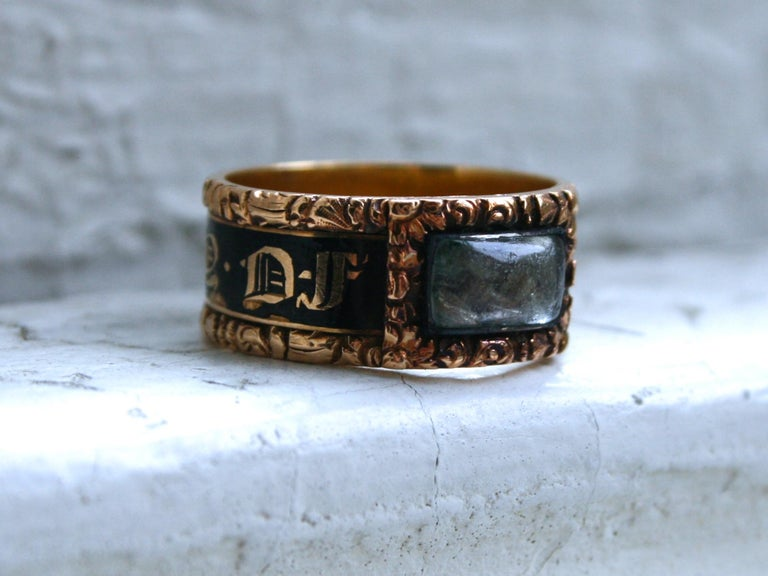 I normally do not buy jewelry with hair, but this Amazing Georgian Antique Mourning Ring was just too significant to pass up! Mourning rings were intended to commemorate the lost of a loved one, and although the idea dates back to Roman times, and