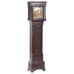 Georgian Antique Carved Oak Brass Face Longcase Clock Hugh Lough, Pen