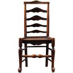 Georgian Antique English Oak Laddderback Chair, circa 1770