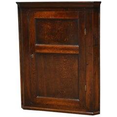Georgian Antique Oak Hanging Corner Cupboard