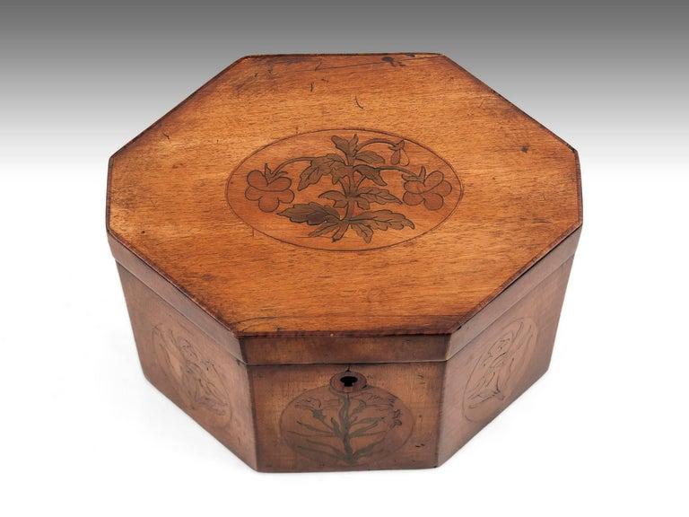 George III Georgian Antique Octagonal Sycamore Tea Caddy 18th Century For Sale