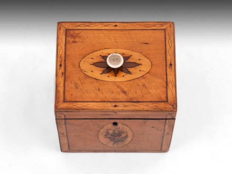 Georgian Antique Single Satinwood Tea Caddy, 18th Century In Good Condition For Sale In Northampton, United Kingdom