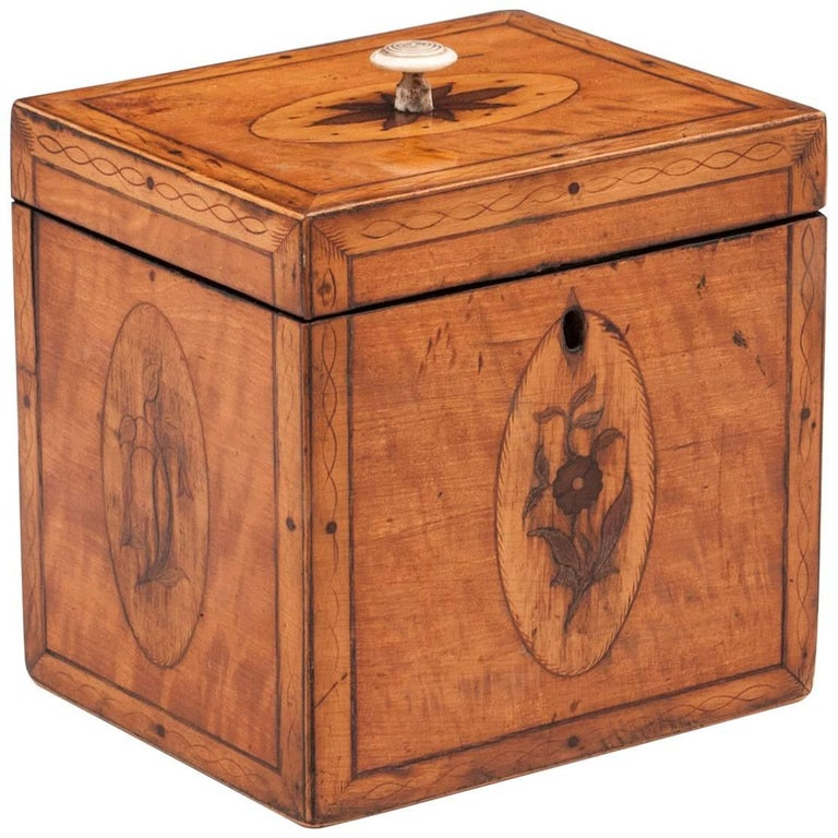 Georgian Antique Single Satinwood Tea Caddy, 18th Century For Sale