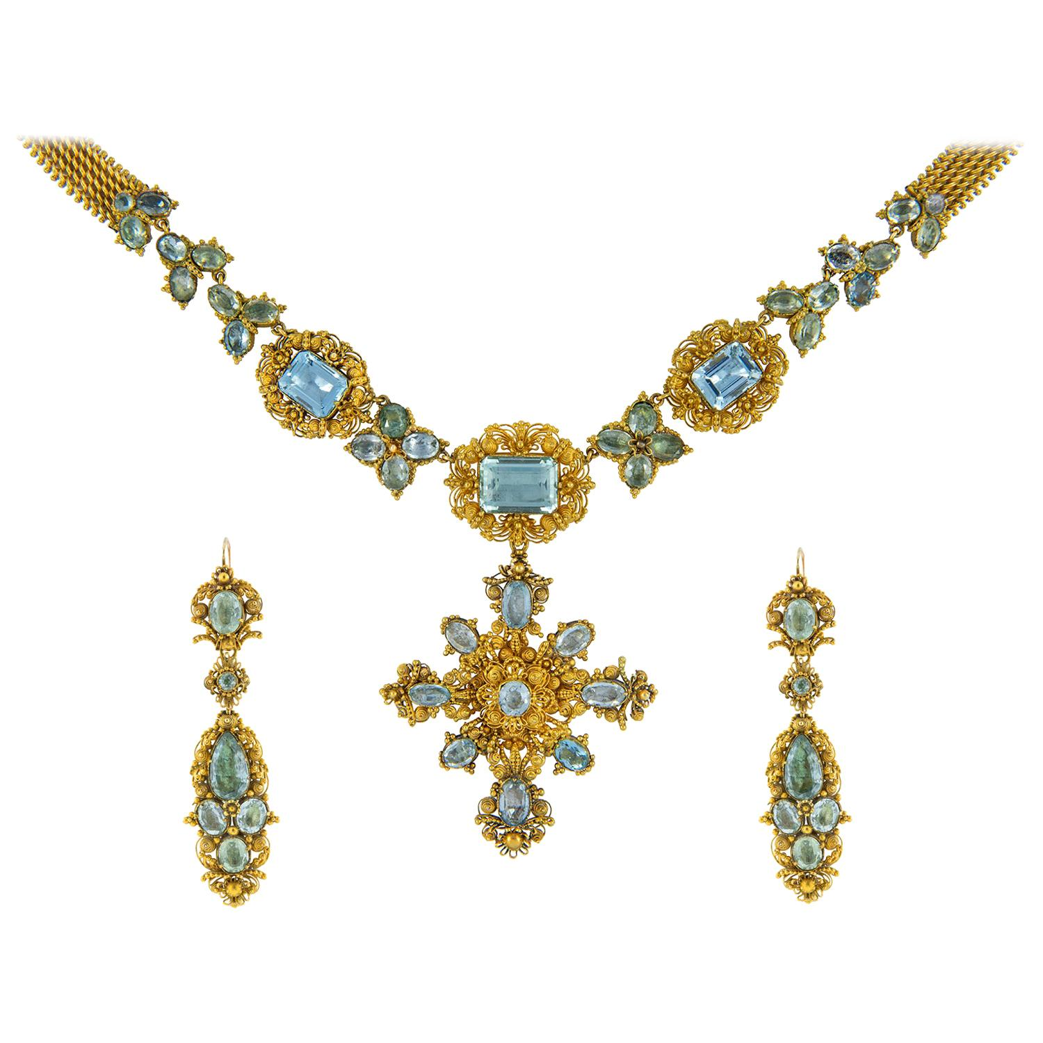 Georgian Aquamarine and Gold Cannetille Suite