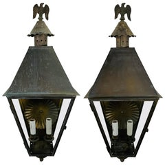 1970's Georgian Art Lighting Wall Lanterns or Sconces, a Pair