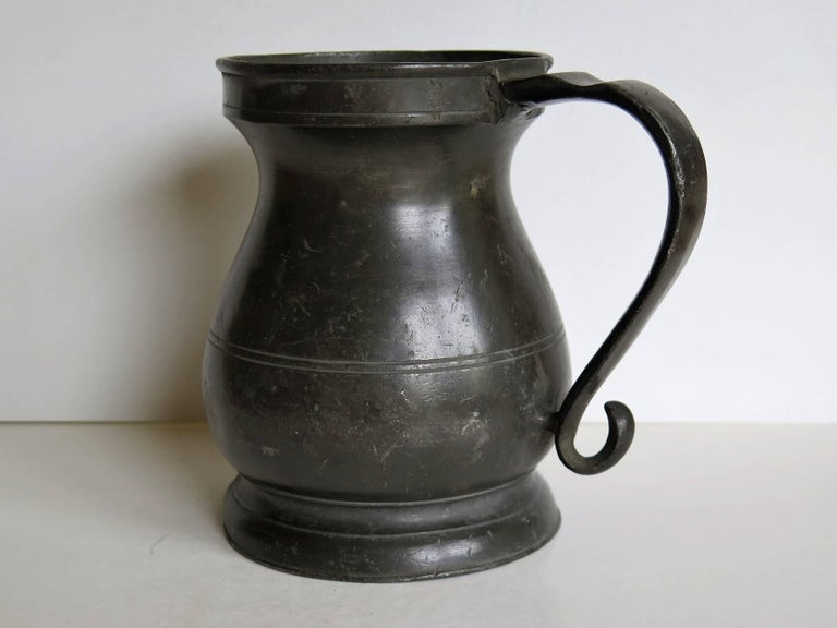 Hand-Crafted Georgian Baluster Pewter Quart Tankard GR Stamped, English Circa 1760 For Sale
