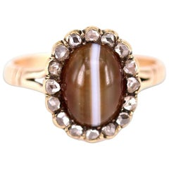 Georgian Banded Agate and Diamond Yellow Gold Cluster Ring