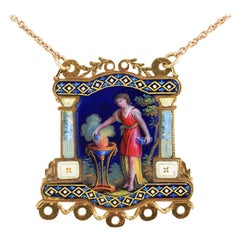 Georgian Beautiful Symbolic Enameled Miniature Pendant Necklace