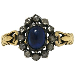 Georgian Blue Sapphire Rose Cut Diamond Halo Gold Silver Antique Engagement Ring